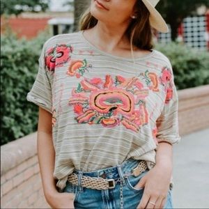 Free People Catalunya Embroidered Boxy Top NEW S